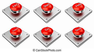 3D rendering. Red web buttons with start, stop, help, support, faq, go.
