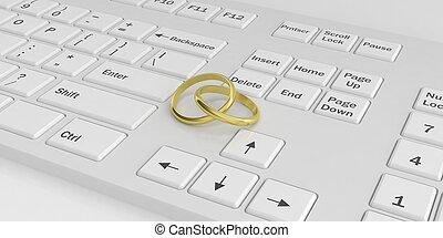 3d rendering rings on a keyboard