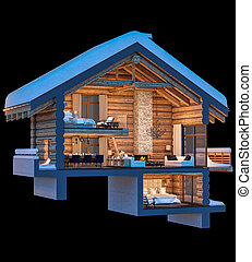 3d rendering section of chalet