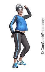 3D Rendering Senior Woman Exercising on White