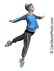 3D Rendering Senior Woman Exercising on White