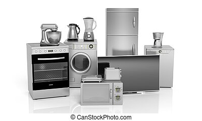 3d rendering set of household appliances on white background