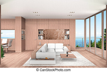 3D rendering showing a modern living room and dining room with beech wood paneling