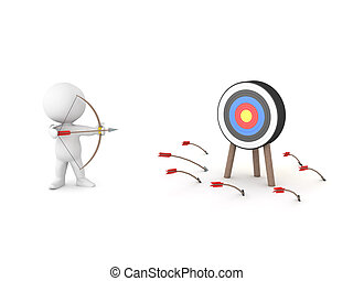 3D Rendering showing golden arrow hitting the target while other miss