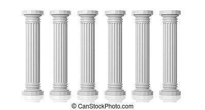 3d rendering six white marble pillars