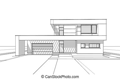 3d Rendering Sketch Of Modern Cozy House