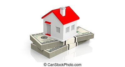 3d rendering small house on a stack of dollar banknotes