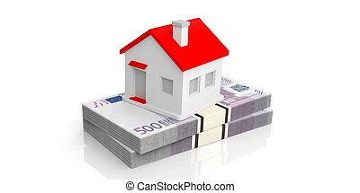 3d rendering small house on a stack of euro banknotes