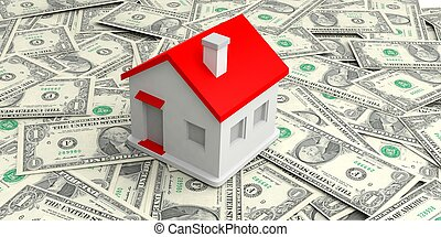 3d rendering small house on one dollar banknotes