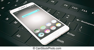 3d rendering smart phone on a keyboard