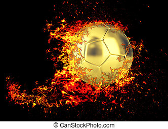 3D rendering, soccer ball in fire isolated on black background.