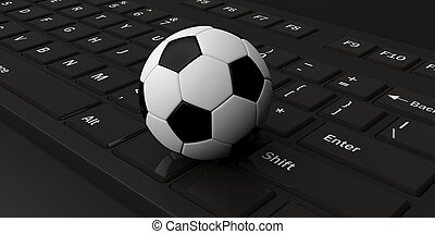 3d rendering soccer ball on a keyboard