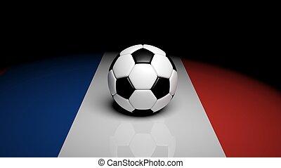 3d rendering Soccer ball on France flag