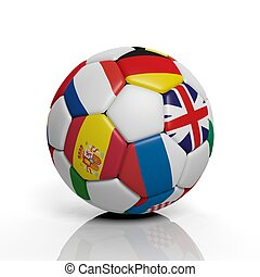 3d rendering Soccer ball with misc flags