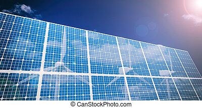 3d rendering solar panels and wind generators