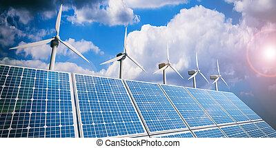 3d rendering solar panels and wind generators on blue sky...