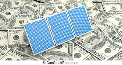 3d rendering solar panels on banknotes