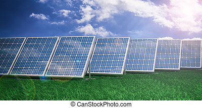 3d rendering solar panels on blue sky background