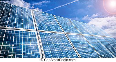 3d rendering solar panels on sky background