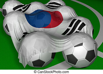 3D-rendering South Korea flag and soccer-balls - competitor...