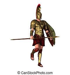 3D Rendering Spartan Warrior on White