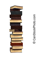 3D Rendering Stack of Books on White