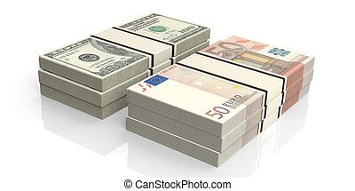 3d rendering stacks of euro and dollar banknotes