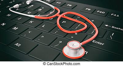 3d rendering stethoscope on a keyboard