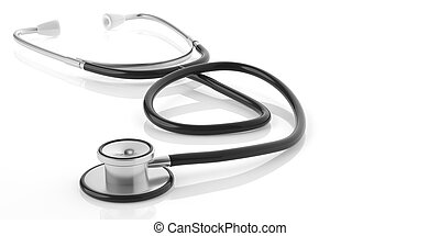 3d rendering stethoscope on white background
