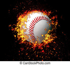 3D rendering, tennis ball in fire isolated on black background.