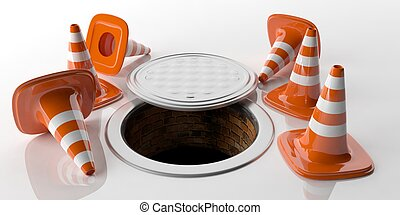 3d rendering traffic cones and manhole