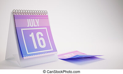 3D Rendering Trendy Colors Calendar on White Background - july 16