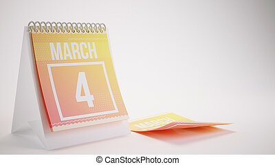 3D Rendering Trendy Colors Calendar on White Background - march 4