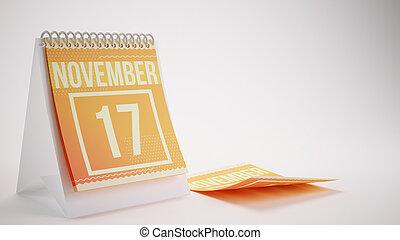 3D Rendering Trendy Colors Calendar on White Background - november