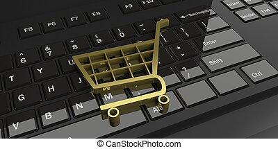 3d rendering trolley on a black keyboard