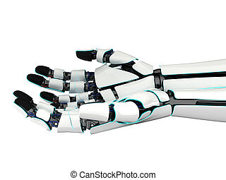 3d rendering two hands of a robot