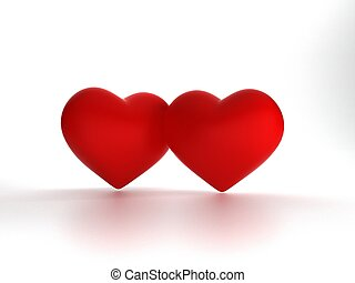 3d rendering two hearts isolated on white background, illustration