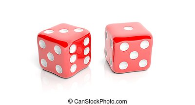 3d rendering two red dice