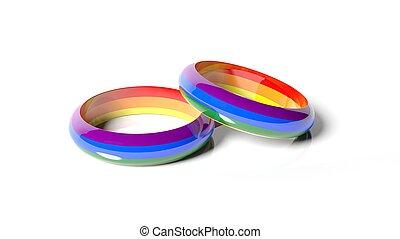 3d rendering two rings in rainbow colors - 3d rendering two...