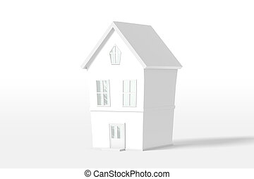 3d rendering two-story house of white color isolated on a ...