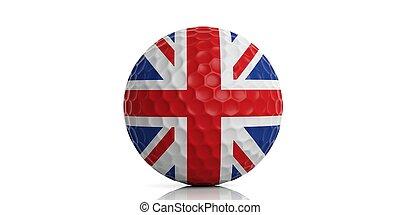 3d rendering UK flag golf ball