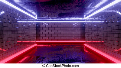 3d rendering. Underground tunnel or corridor lit with bright neon lamps. Futuristic background. Dark dungeon.
