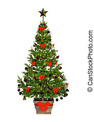 3D Rendering Victorian Christmas Tree on White