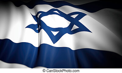 3D rendering, wavy flag of Israel, closeup background