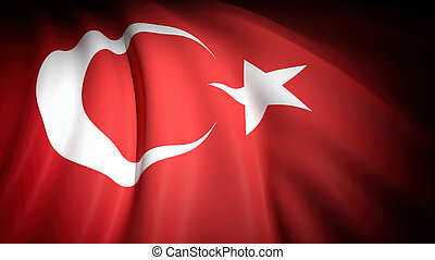 3D rendering, wavy flag of Turkey, closeup background