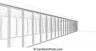 3D rendering wire-frame - 3D rendering wire-frame of...
