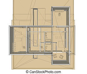 3D rendering wire-frame of building. view from above - site plan