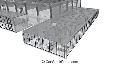 3D rendering wire-frame of building. White background.