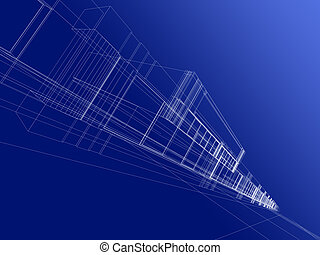wireframe of office building