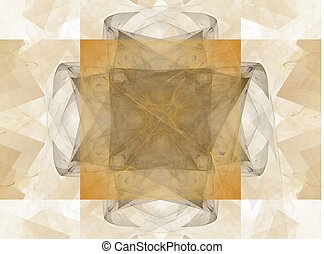 3D rendering with beige abstract symmetrical fractal